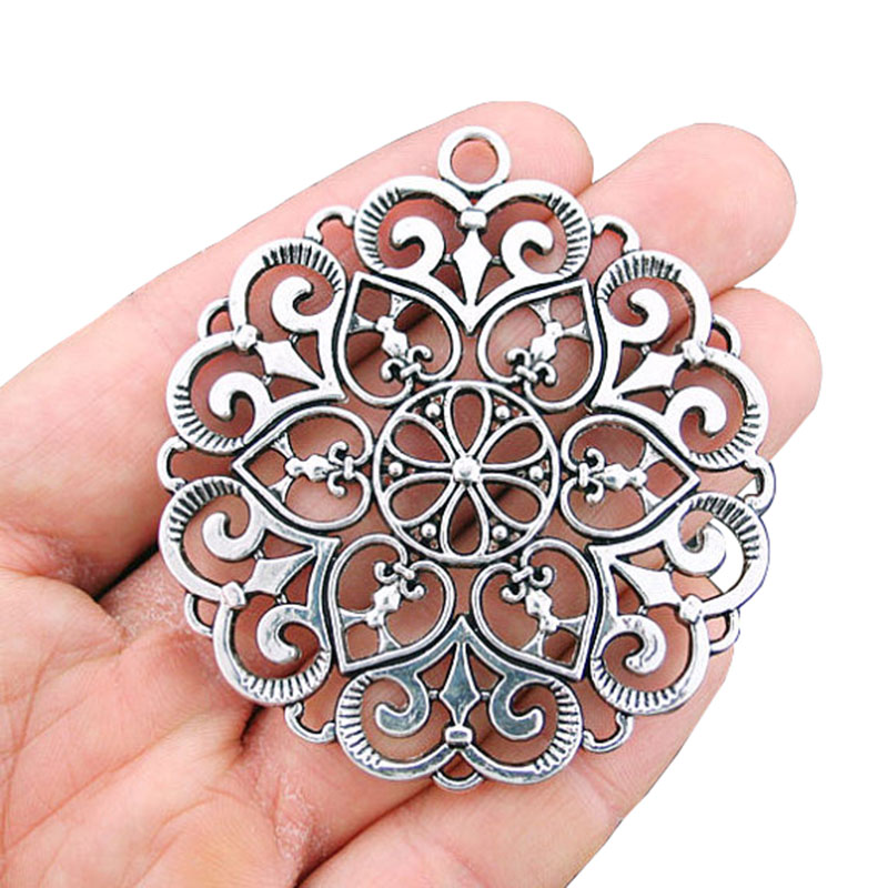 2 x Antique Silver Tone Large Round Swirl Lace Hearts Charms Pendants Hollow Open for Necklace Jewelry Making Findings 68x62mm in Pendants from Jewelry Accessories