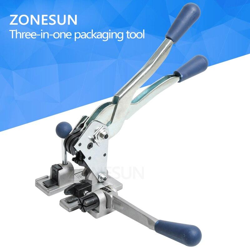 ZONESUN Manual multifunction PP Strapping Machine handy plastic 13mm PP belt carton box sealer packing tool цена