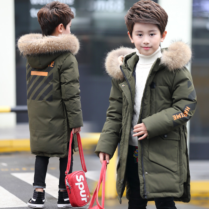Boy Girl Winter Duck Down Jacket Long Coat Parkas with Fur Collar warm fur collar solid white duck down 5 14t boy winter down parkas hooded winter coat long down thickening coat free shipping