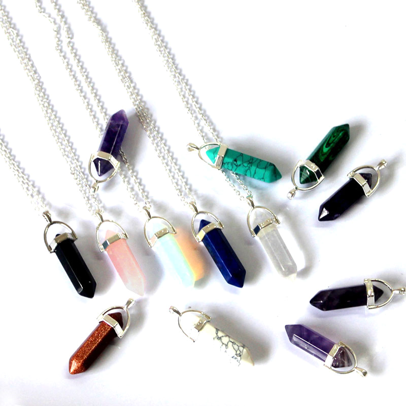 Quartz pendant necklace chakras Natural Stone Bullet Shape Pendant Necklaces Fashion Jewelry For Women Gift  Wholesale