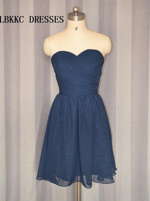 Navy Blue Cocktail Dresses Simple Chiffo Knee Length Cocktail Party Dress Vestidos De Coctel Elegantes
