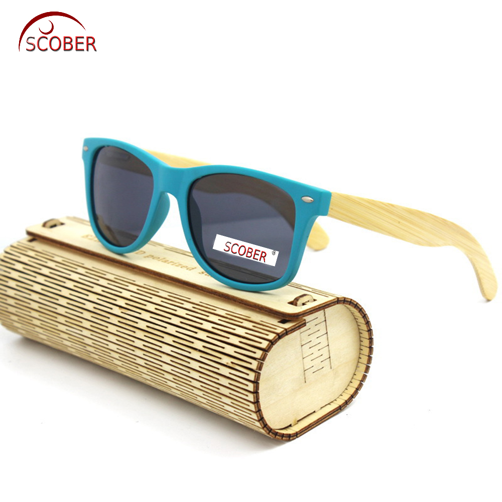 b8390e6004  SCOBER  Fashions Trend Blue Natural Bamboo Wooden handmade Lady polarized sunglasses  Mirror Coated UV400 sun glasses with case