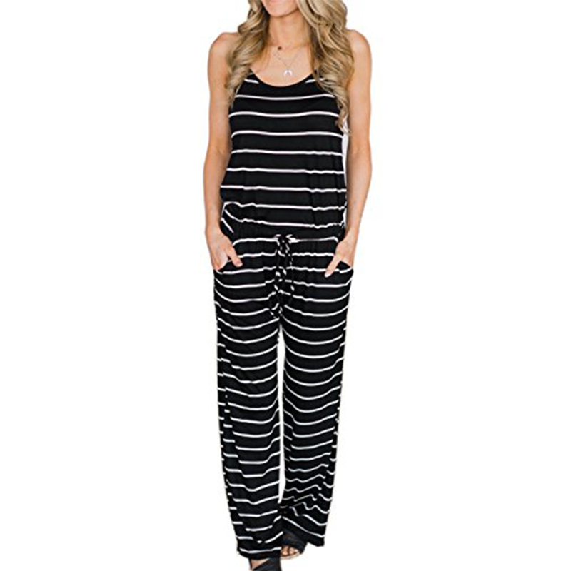 Summer Women Black Striped   Jumpsuits   Sexy Spaghetti Strap Long Playsuits Casual Beach Wide Leg Pants Long Overalls Female GV407