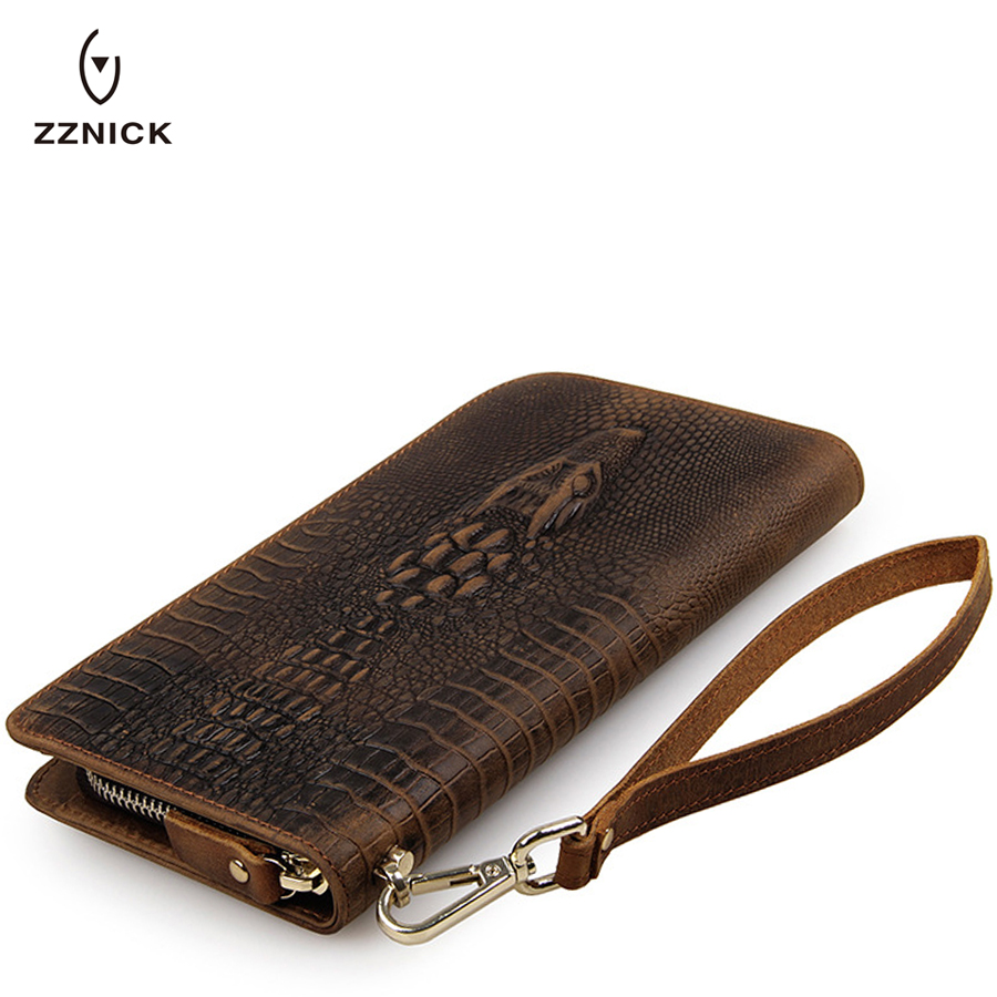 ZZNICThe 2018 New First Layer Of Real Leather Mens Crocodile patter High-Capacity Multi-Card Bit Long Wallet Clutch Men Genuine