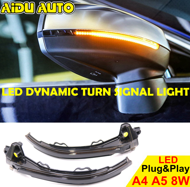 US $52 25 5% OFF|AIDUAUTO FOR Audi A4 A5 B9 S4 S5 RS5 2017 2018 2019  Dynamic Blinker LED Turn Signal blink Side Mirror Lights indicator  flasher-in