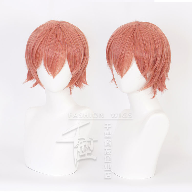 Japan Anime Sayori Cosplay Wig Short Orange Red Hair Heat fiber Costume Party