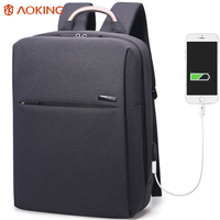 Aoking 2017 Simple Design Men S Backpack With External USB Casual Daily Daypacks For Student Laptop