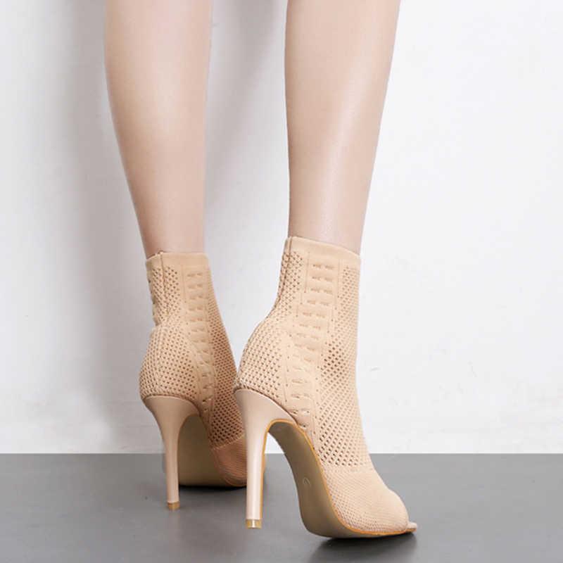 Женские вязаные ботинки с открытым носком; сезон осень; Модные ботильоны; обувь на тонком высоком каблуке; однотонная женская обувь без застежки