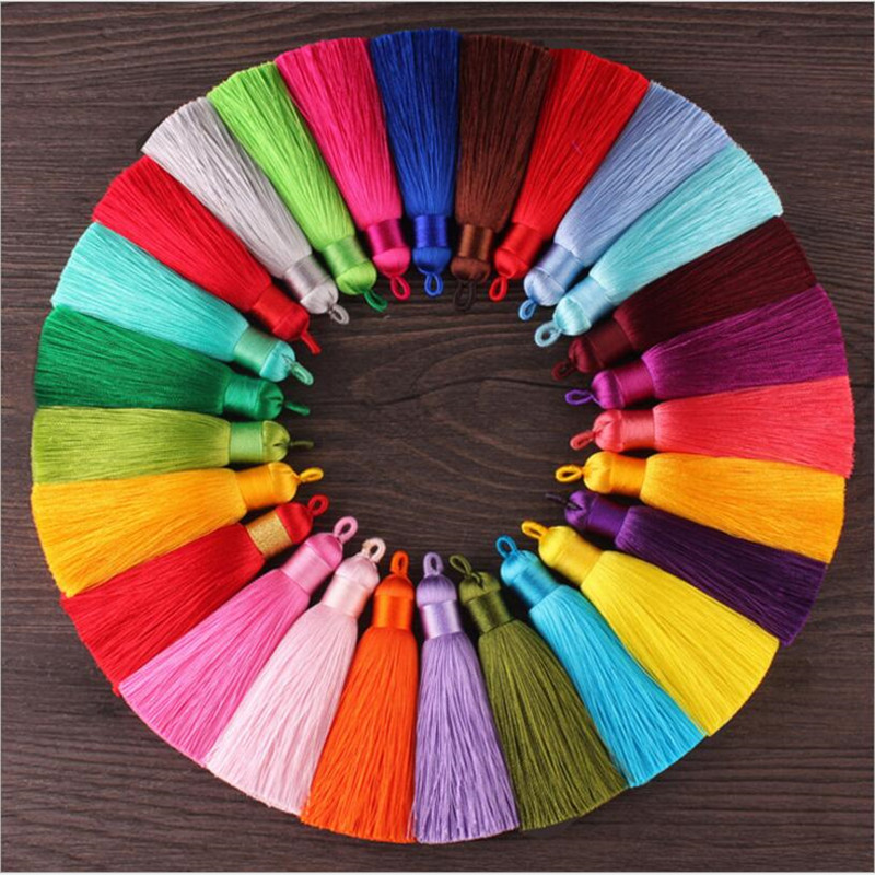 5pcs 80mm Long Rayon Polyester Silk Tassel Earrings Charms Chinese Knot Cotton Tassels with Loops For Diy Jewelry Making Z857