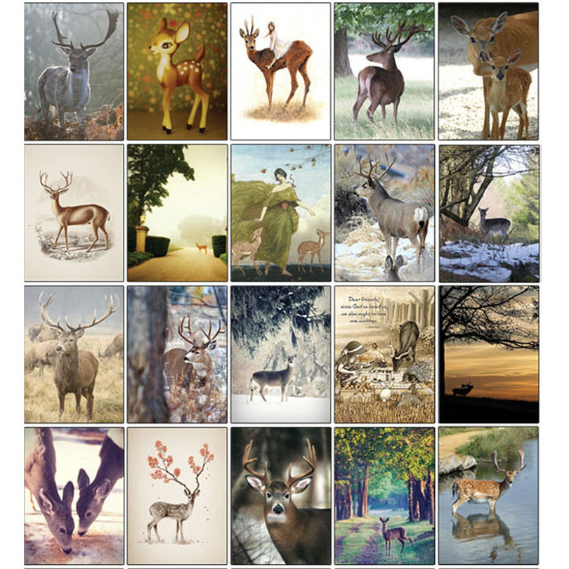 32pcs/lot Christmas Card Lovely Deer Story colorful Romantic Postcards Greeting Cards Postcard Gift