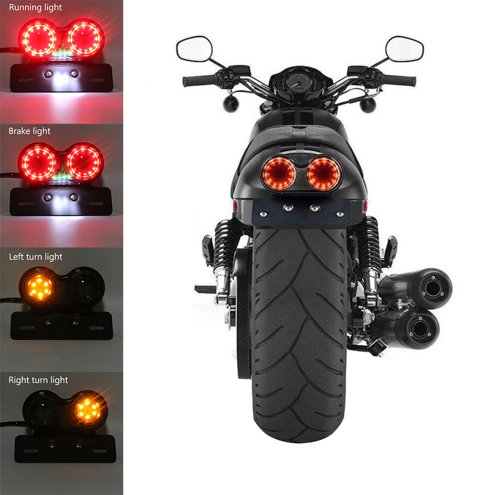 Motorcycle Turn Signal Brake Led Light License Plate Holder Tail Lights LED Brake Tail Lamps For Harley Bobber Cafe Racer ATV мышь zalman zm m401r usb