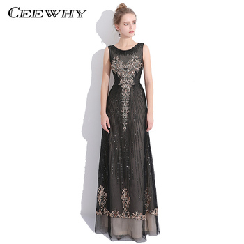 CEEWHY Sequined Black Formal Dress Prom Gown Evening Dress O-Neck Embroidery Elegant Evening Gowns Robe De Soiree Longue