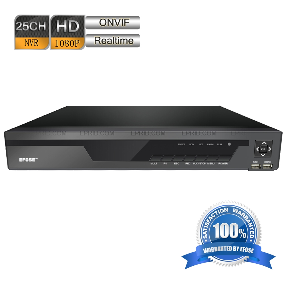 EFOSE FO-6225NB-E4 25 Channel HDMI 1080P Real-Time ONVIF 1.5U Network Video CCTV NVR nowley nowley 8 6225 0 4