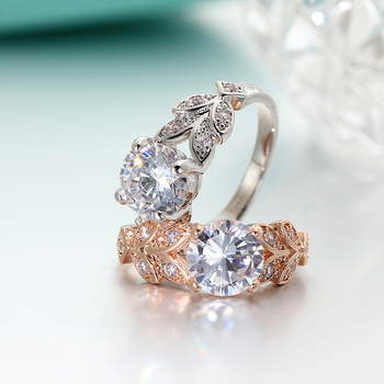 Crystal Silver Color Rings Leaf Engagement Gold Color Cubic Zircon Ring 4