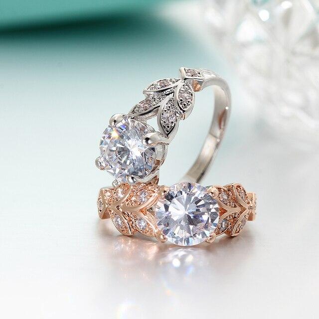 SI ME De Mariage Cristal Couleur Argent Anneaux Feuille de Fiançailles Or couleur Zircon Cubique Anneau De Mode Nouvelle Marque Bijoux Pour Femmes bijoux 2