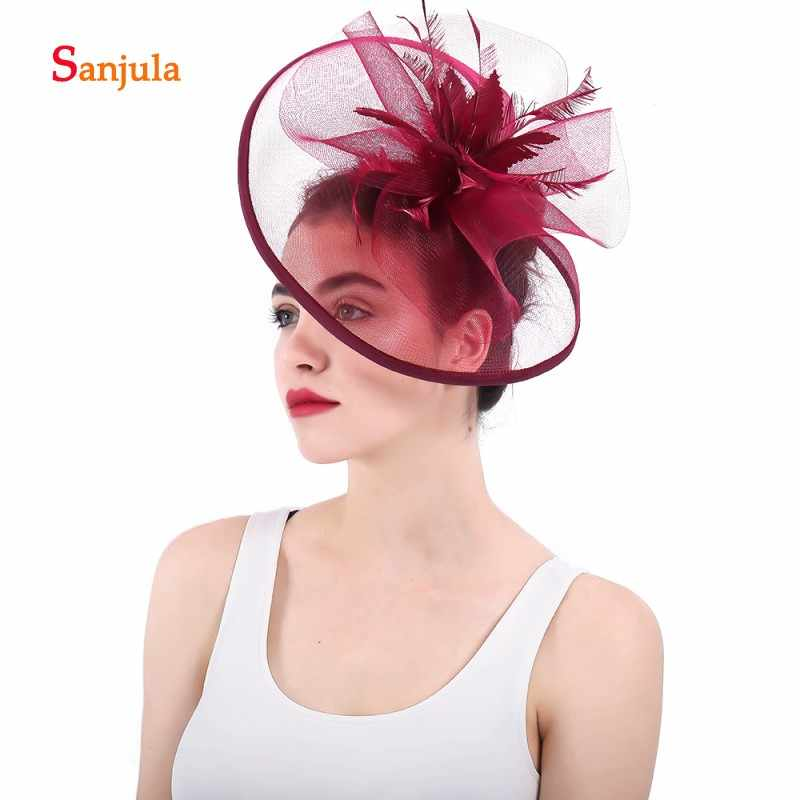 9a9f1401 ... Burgundy Bridal Hats 2018 Big Hats Tulle Flowers Feathers Fascinators  Wedding Hair Accessories with Hair Clips