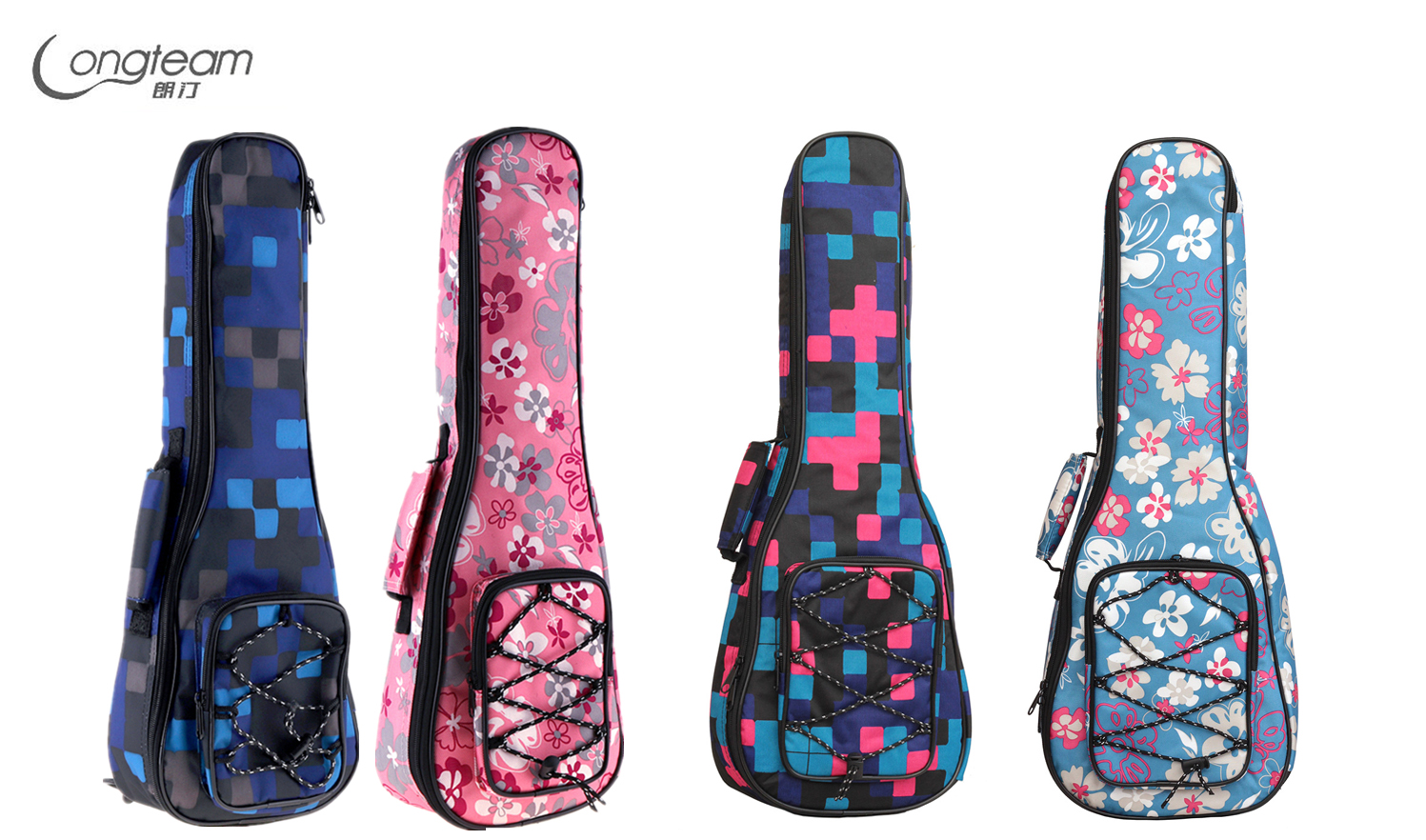 21 Inch Tartan Printed Ukulele Case Gig Bag Double Straps Canvas Pad 10mm Cotton Thickening Soft Cover Waterproof Backpack