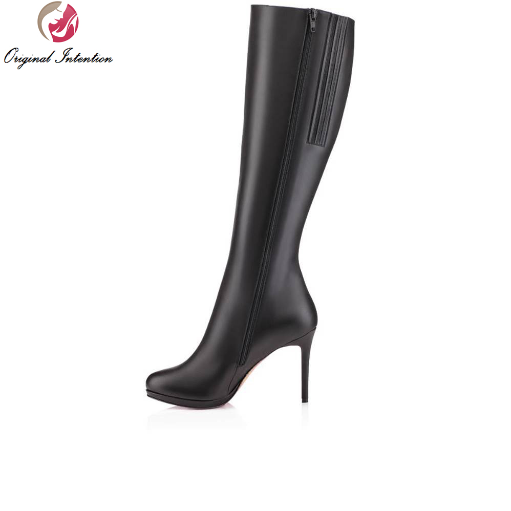 Original Intention 4 Colors Fashion Women Mid-Calf Boots Flock/Micorfiber 12-14cm Thin Heels Boots Shoes Woman Plus Size 4-15 double buckle cross straps mid calf boots