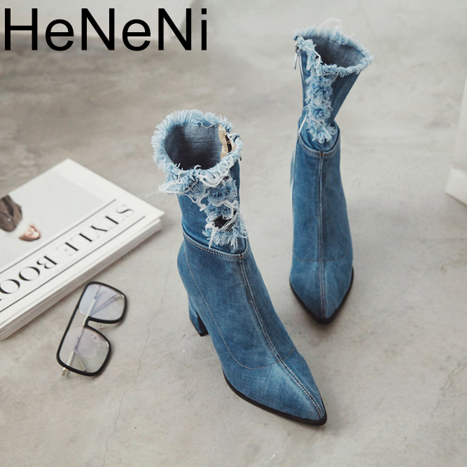 Womens Boots Plus size 34-43 Pointed Toe Yarn Elastic Denim Ankle Boots Thick Heel High Heels Shoes Woman Female Socks Boots Womens Boots Plus size 34-43 Pointed Toe Yarn Elastic Denim Ankle Boots Thick Heel High Heels Shoes Woman Female Socks Boots