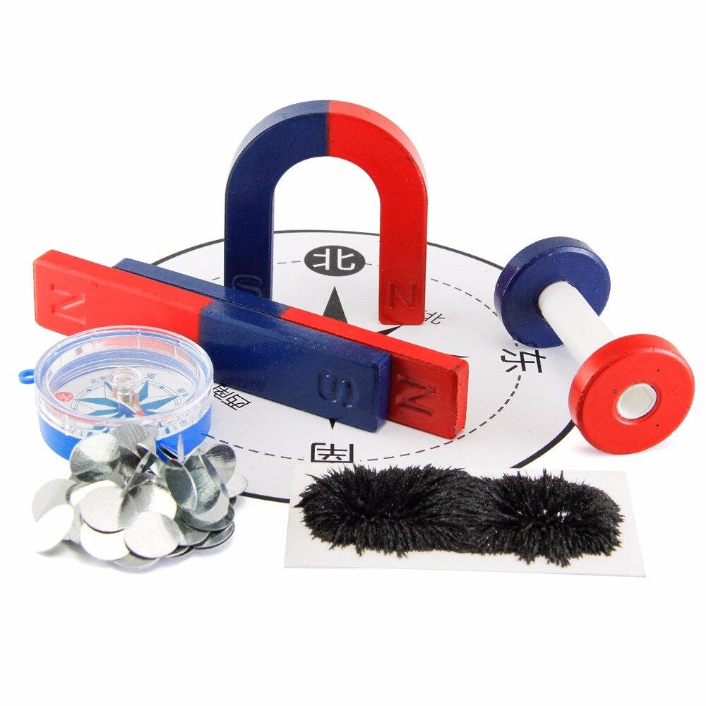 1 set Isotrope Aimant En Ferrite Kit pour L'éducation Expérience Scientifique BAR + FER À CHEVAL + ANNEAU AIMANT enfants jouet
