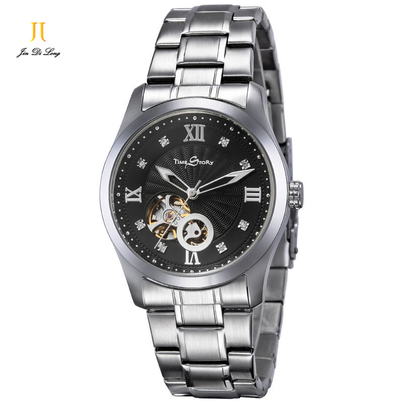 2 *#Classic Fashion Business Casual Watch Men Automatic Watch Flywheel Hollow Out Clock Diamond Waterproof Wristwatch Relogio