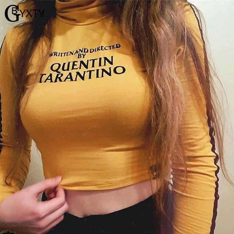 GBYXTY quentin tarantino Funny Letter Print Long Sleeve T-Shirt Womens Spring Autumn Turtleneck Striped Tee Shirt Bts Top ZA543