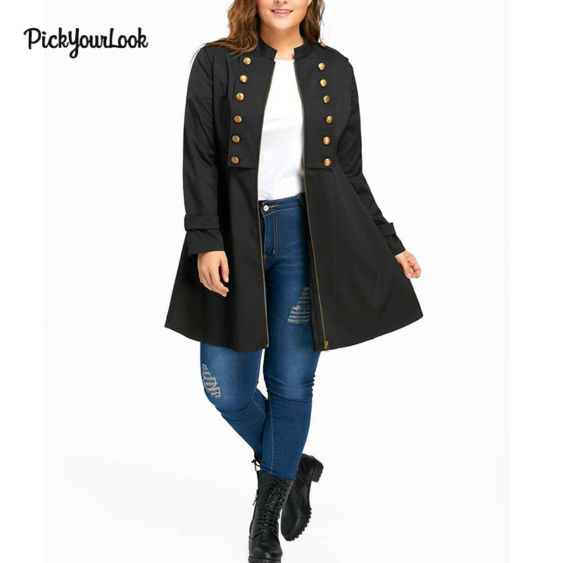 PickYourLook 2018 New Winter Female Vintage Zippers Manteau Femme Hiver Black Double Breasted Plus Size 5XL A-Line   Trench   Coat