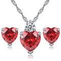 Красный кристалл Сердце просто люблю тебя Ювелирных Изделий Наборы для Женщин приятные подарки