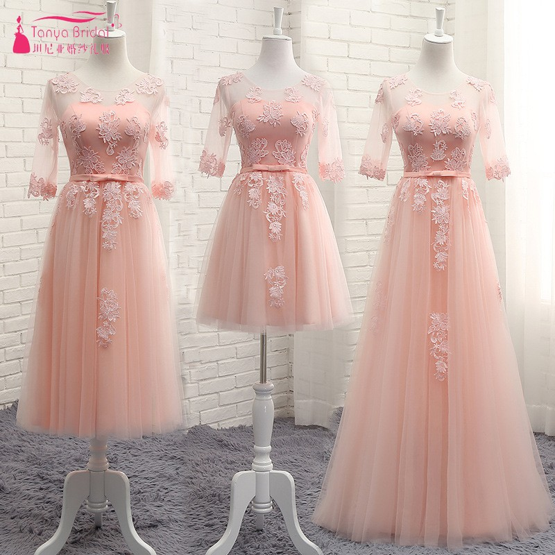 TANYA Illusion cou Blush rose robe dentelle perles a-ligne thé longueur dîner demoiselles d'honneur robes fête courte formelle robe DQG861