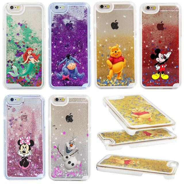 NEW Beautiful Cute Mickey & Minnie Liquid Stars Hard Cover Case For iPhone 6 6S 6 PLUS 6S PLUS