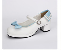 Japanese Lolita Student Shoes Princess Cute Low Hight Heel White Bow Tie Cos Cosplay Woman Navy