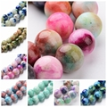 "4/6/8/10/12mm Jade Semi-precious Stone Camouflage Charm Beads Bulk 16"" Dyed Natural White Jade Ball Loose Strands Round Colorful"