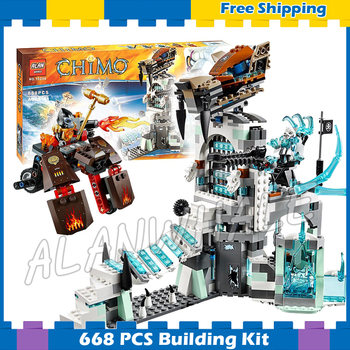 668pcs Sir Fangar's Ice Fortress Base Saber-tooth Flyer Gorzan Vehicle 10296 Model Building Block Gifts set Compatible with Lago