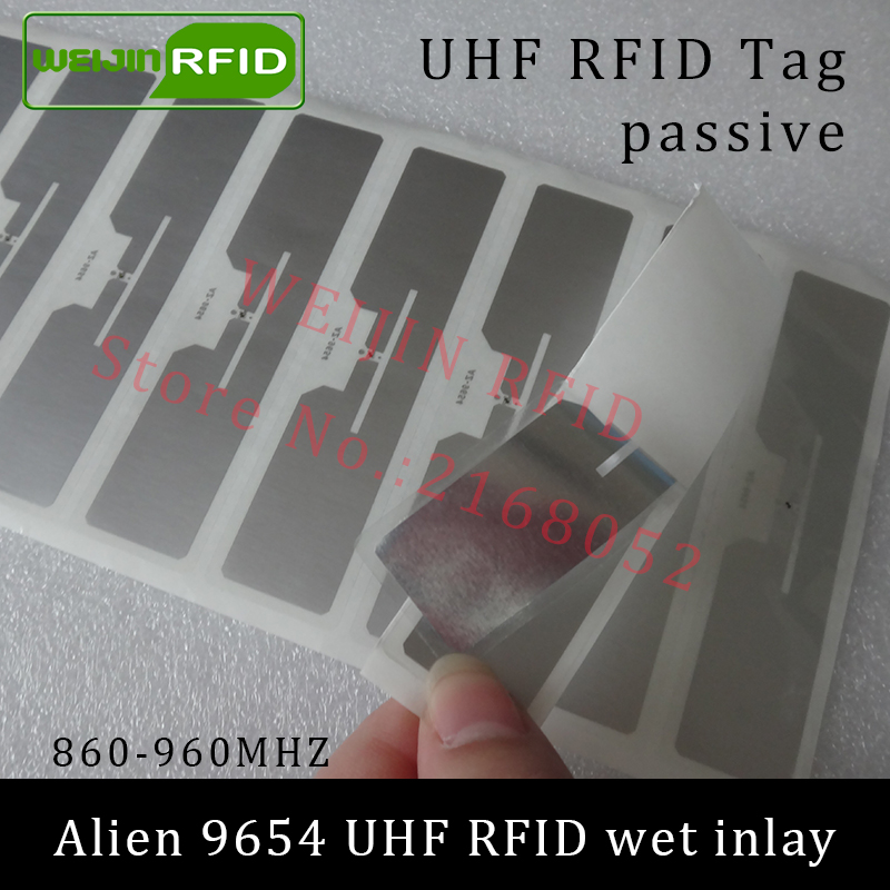 UHF RFID tag sticker Alien 9654 wet inlay 915mhz 900 868mhz 860-960MHZ Higgs3 EPCC1G2 6C smart adhesive passive RFID tags label 860 960mhz long range passive rfid uhf rfid tag for logistic management