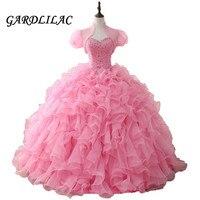 Розовый Пышное Платье 2018 длинное платье для выпускного вечера бисером оборками из органзы для танцев бальное платье, vestidos De 15 Anos Сладкий 16 п