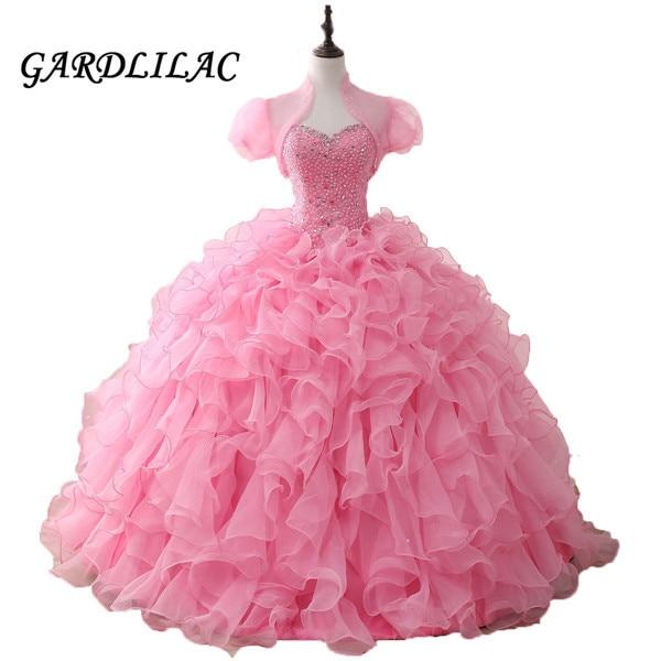 Pink Quinceanera Dresses 2019 Long Prom Dress Beaded Ruffles Organza Dance Ball Gown Vestidos De 15 Anos Sweet 16 Dresses
