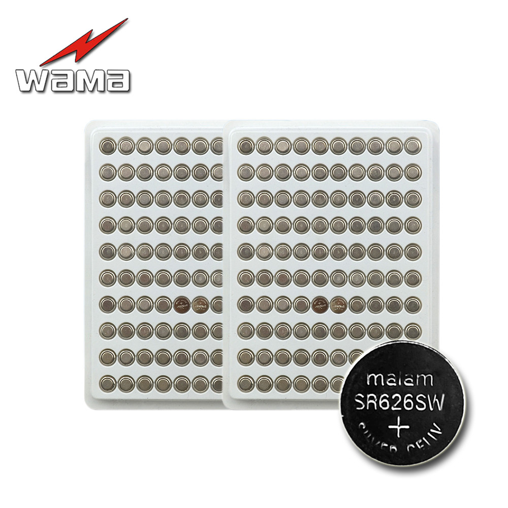 200pcs/2pack Wama AG4 Alkaline Button Coin Batteries LR626 377 SR626 177 Electronic Watches Battery Wholesales Drop shipping