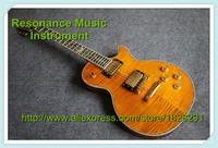 New Brand Yellow Tiger Flame Finish Solid Body Classical LP Electric Guitars China OEM Left Handed