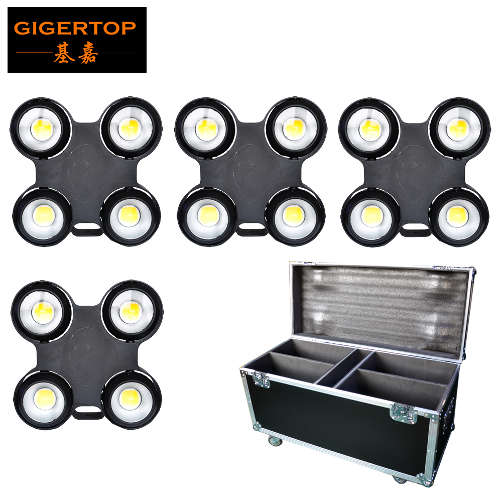 4in1 Flight Case with Wheels Pack 400W Led COB Audience Blinder Light IP65 Outdoor Using DMX512/Sound/Auto Control White Color multicolored led auto wheels light 2 set