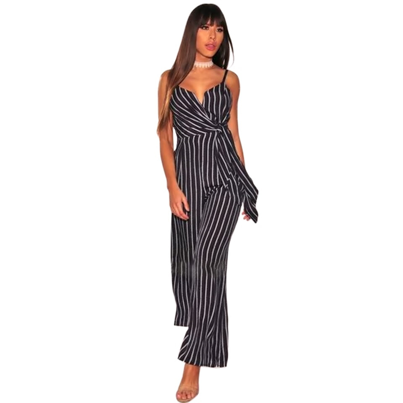 Elegant 2018 Women Wide Legs Long Jumpsuits Striped Spaghetti Strap Bow Lace Up Loose OL Style Office Lady Party Overall Rompers