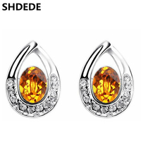 White Gold Plated Crystal From Swarovski Elements Stud Earrings For Women Fashion High Quality Waterdrops