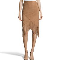 S XXL Hot Sale 2016 New Autumn Fashion Irregular Suede Fringed High Waist Skirts Womens Saia