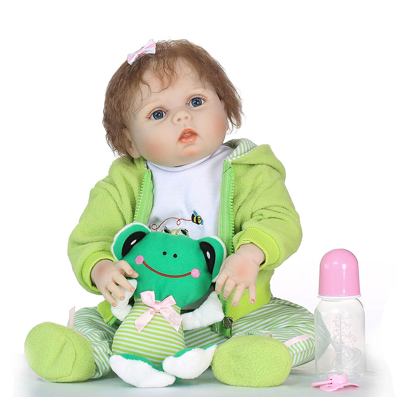56CM/22inch Vinyl Jointed Reborn Doll Lifelike Baby Dolls for Kids Playmate Christmas Gift M09 55cm vinyl jointed reborn doll lifelike kids baby dolls for infant playmate christmas gift m09