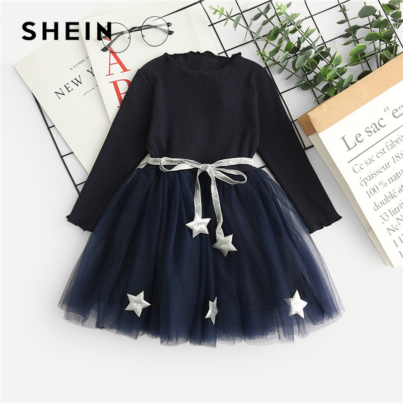 SHEIN Kiddie Black Star Pattern Frill And Contrast Mesh Casual Dress Toddler Girls 2019 Spring Long Sleeve Flared Kids Dresses