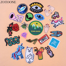 ZOTOONE UFO Planet Iron On Alien Patches For Clothing Applique Embroidery Snake Flower Punk Patch Jeans Stickers Clothes E