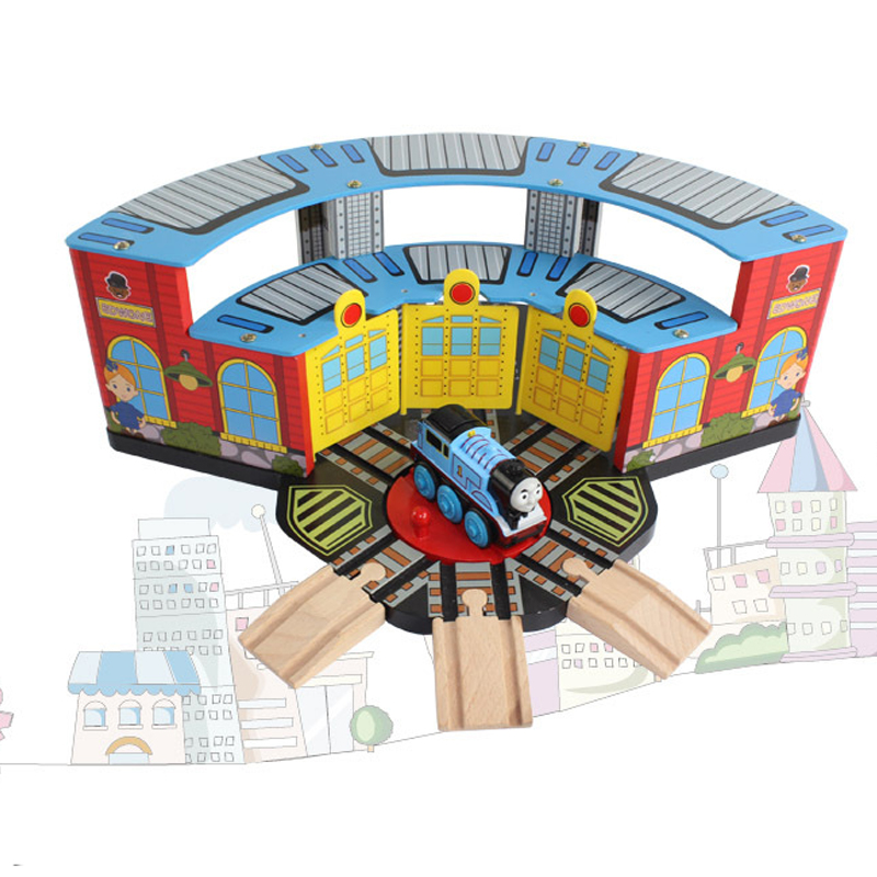 Thomas Wooden Train Track Railway Accessories Toy Luxury Train Station 3 Doors Garage Parking House Train Station