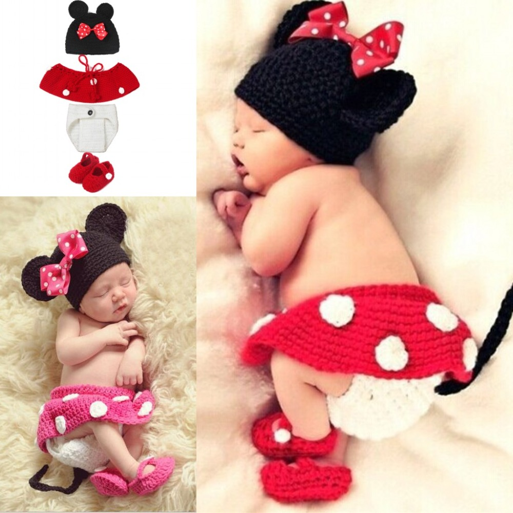Baby Costume Photography Knitting Baby Hat Bow Bonnet Enfant Photography Baby Props Newborn Crochet Outfits newborn fotografia newborn crochet baby costume photography props knitting baby hat bow infant baby photo props newborn baby girls cute outfits