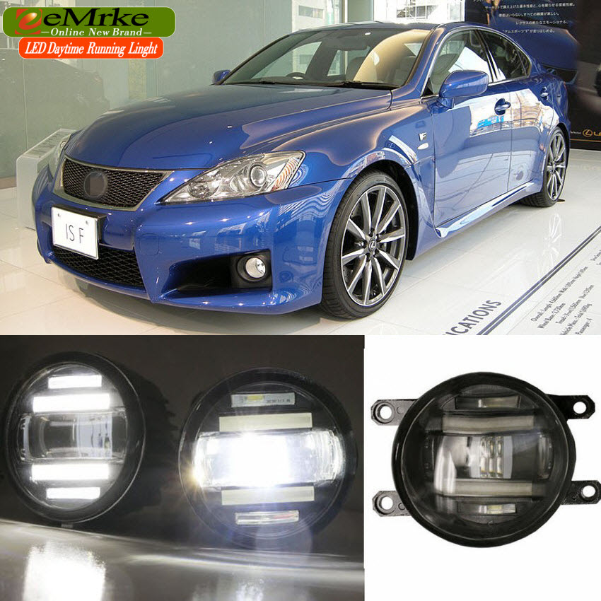eeMrke For Lexus IS-F 2008-2013 IS250 IS350 Xenon White High Power 2 in 1 LED DRL Projector Fog Lamp With Lens eemrke xenon white high power 2 in 1 led drl projector fog lamp with lens daytime running lights for renault kangoo 2 2008 2015