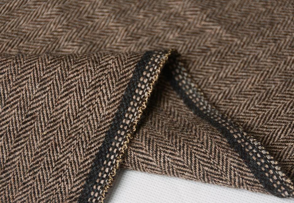 2018 Dark Brown tweed blazer men Wool Herringbone British style custom made Mens suit slim fit Blazer wedding suits for men 2