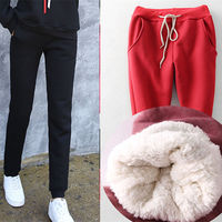 Winter Lambswool Thick Women Trousers Plus Cashmere Loose Pants Harem Pants Plus Size S 4XL Warm Cotton Trousers Female MZ2020
